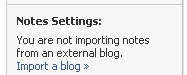 FaceBook Notes Settings